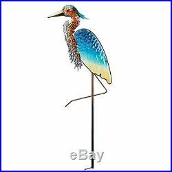 Blue Heron Bird Garden Statue Decorative Metal Yard Stake Sculpture Figurine USA