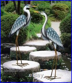 Blue Heron Pair Coastal Metal Garden Statue Crane Bird Yard Art Sculpture 44