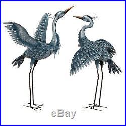 Blue Heron Pair Metallic Finish Metal Garden Statuary Yard Sculpture 41 & 47