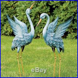 Blue Heron Statues Crane Bird Sculpture Outdoor Metal Yard Art Lawn Decor Garden