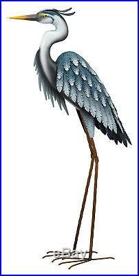 Blue Heron Yard Art Sculpture Metal Crane