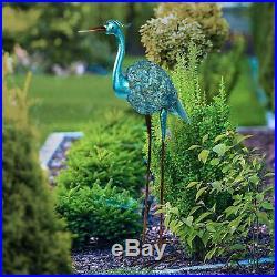 Blue Metal Crane Heron Statue Sculpture Garden Patio Porch Yard Lawn Art Accent