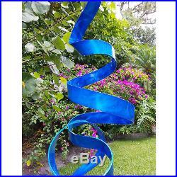 Blue Metal Garden Sculpture Modern Yard Statue BEAUTIFUL blue modern art