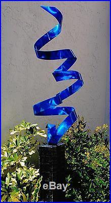 Blue Modern Abstract Metal Garden Sculpture Yard Art Home Decor Rise Above