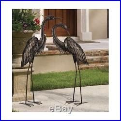 Bronze Heron Pair Metal Crane Garden Statue Sculpture Modern Yard Art Lawn  Decor