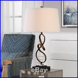 Bronze Twist Metal Ribbon Table Lamp Elegant Open Brown Knot Sculpture Modern