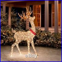 Christmas Buck Doe Sculpture Set Pre Lit Reindeer Deer ...