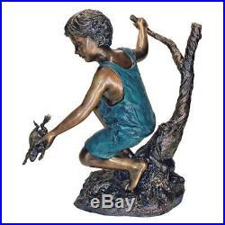 Catch and Release, Boy and Frog Finest Cast Bronze Garden Yard Statue Sculpture