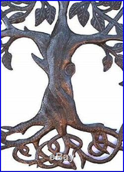 Celtic Plaque Art Tree of Life Wall Hang Large Rustic Irish Metal Yard Sculpture