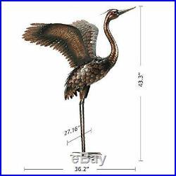 Chisheen Garden Statue Heron Crane Yard Art Metal Sculpture Outdoor Heron