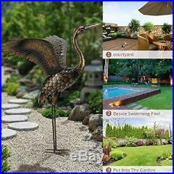 Chisheen Garden Statue Heron Crane Yard Art Metal Sculpture Outdoor Lawn Patio
