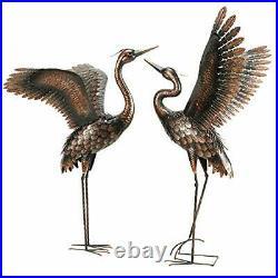 Chisheen Garden Statue Outdoor Metal Heron Crane Yard Art Sculpture for Lawn