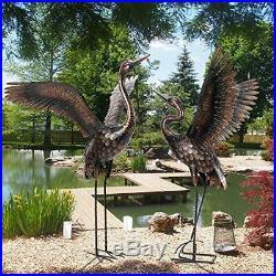 Chisheen Garden Statue Outdoor Metal Heron Crane Yard Art Sculpture for Lawn Pat