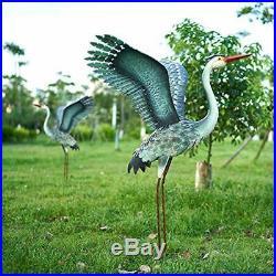 Chisheen Heron Statues Sculptures Outdoor Decor Metal Crane Yard Ornaments Art