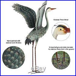 Chisheen Heron Statues and Sculptures Outdoor Decor Metal Crane Yard Ornaments