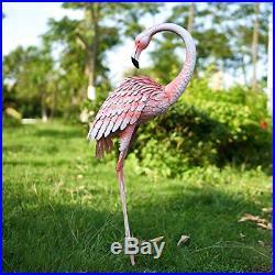 Chisheen Metal Flamingos Yard Decor Outdoor Statue Garden Sculptures and Statues