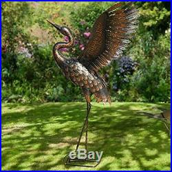 Chisheen Outdoor Metal Crane Heron Yard Art Statue And Sculptures For Garden