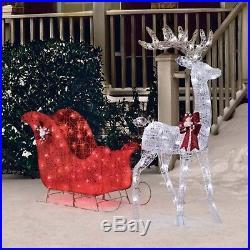 Christmas Decoration 52 Reindeer and 40 Sleigh with 120 LED Lights Yard Decor