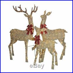 Christmas Indoor Outdoor Yard Decoration Decor Lighted LED Sparkling Deer Set