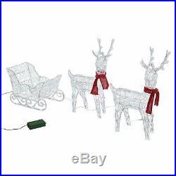 Christmas Outdoor Decoration 3 Piece Light Up Reindeer Waterproof Yard Decor