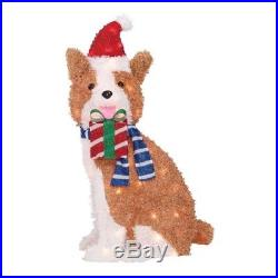 Christmas Outdoor Decoration Lighted Fluffy Dog Sculpture Pre-lit Holiday Yard
