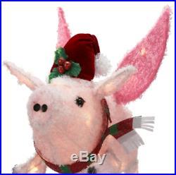 Christmas Pre Lit Fluffy Pink Red Pig 3D Sculpture Lighted Outdoor Yard Decor
