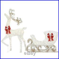 Christmas Yard Decorations 5 ft Life Size Decor Deer Sleigh LED Lights Holiday