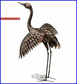 Chsgjy Large Bronze Patina Flying Crane Pair Sculpture Heron Bird Yard Art Metal