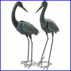 Coastal Heron Pair Yard Decor Garden Crane Statue Metal Sculpture Lawn Art Bird
