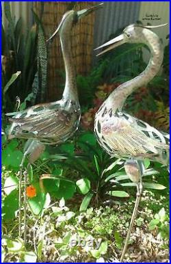 Coastal Heron Statue Pair Garden Crane Beach Bird Rustic Sculpture Lawn Yard Art