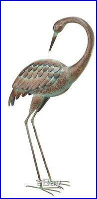 Coastal Yard Decor Garden Crane Statues Heron Pair Metal Sculptures Lawn Art New