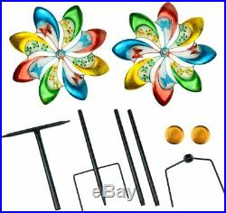 Color Wind Spinner Flower Sculpture Kinetic Lawn Garden Decor Patio Stake Yard