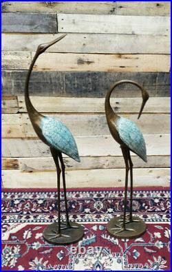 Copper Patina Crane Pair Metal Yard Sculptures Garden Decor Statues Bird Heron