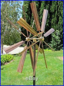Copper Sculpture Wind Spinner Kinetic Lawn Garden Decor Patio Stake Yard Art