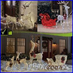 DEER & DOES Set Christmas Outdoor Pre-Lit LED LIGHTED Decor Yard Porch Sculpture