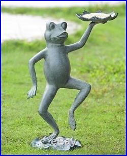 Dancing Frog Lily Pad Garden Sculpture Bird Feeder Statue