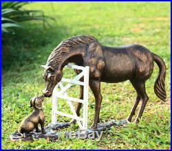 Dog & Horse Pals Garden Sculpture Statue Metal Yard Figurine, Hand Cast Aluminum