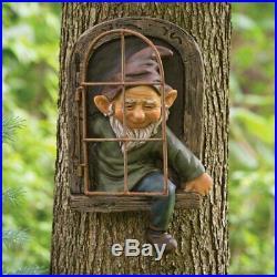 Elf Out The Door Tree Hugger Garden Decor Peeker Yard Art Whimsical Sculpture