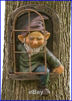 Elf Out The Door Tree Hugger, Garden Peeker Yard Art Whimsical Tree Decoration