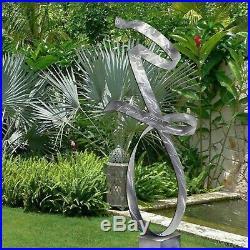 Extra Large Metal Sculpture Modern Abstract Silver Garden Yard Decor Jon Allen