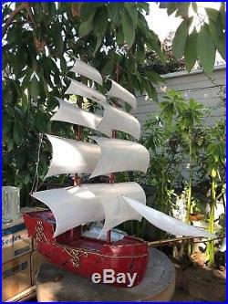 Fab Huge Heavy! Welded 3'x3' Tall Ship Sail Boat Patio Home Metal Yard Home Art