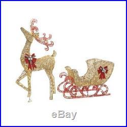 Festive Christmas Gold PVC Reindeer 5 ft. Tall Sleigh 44 in. Outdoor Yard Decor