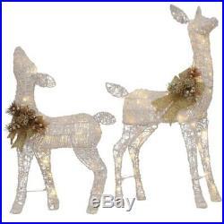 Festive Christmas Lighted White PVC Deer Doe Outdoor Yard Home Decor (Set of 2)