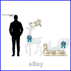 Festive Holiday Pre-Lit 65 In. Reindeer 46 In. Sleigh Blue Bows White Yard Decor