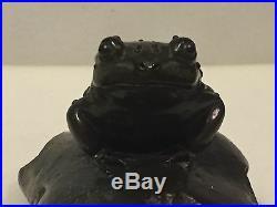 Frog or Toad on Rock Bronze Metal Sculpture Signed Debi Pollock LTD. ED 620/1000