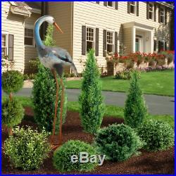 Garden Blue Crane Sculpture Lawn Ornament Yard Art Life Size Metal Bird Decor LG