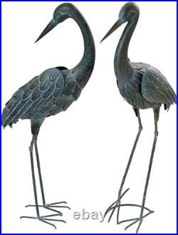 Garden Crane Pair Statues Heron Bird Sculpture Metal Outdoor Patio Art Pond Yard