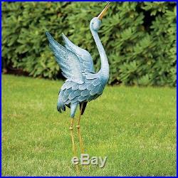 Garden Crane Statues Pair Yard Art Blue Heron Metal Sculpture Outdoor Lawn Decor