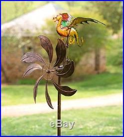 Garden Decor Wind Spinner Kinetic Yard Art Sculpture Dragon Fantasy Metal 65H