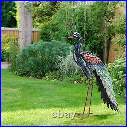 Garden Peacock Statue Outdoor Metal Yard Art Lawn Statues Sculpture